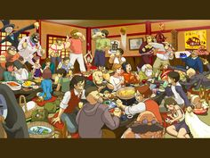 This is cool! It features a bunch of characters from Miyazaki movies like Spirited Away, Howl's Moving Castle, Lupin the 3rd: The Castle of Cagliostro & a few others.