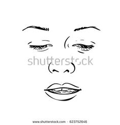 Sketch of woman face with her eyes lowered and with slightly opened lips, Hand drawn vector illustration, Line art