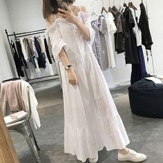 Pure cotton dress skirt female striped shoulder summer sweet dress loin high waist big fairy beach dress