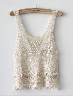 GARAGE Clothing - Crochet tank   Crochet cool with a bohemian feel. This crochet tank is perfect to wear with your fave pair of retro high waist GRG denim shorts. It features an open neckline, crochet pattern, scallop hemline. Hand wash cold. Imported 100% Cotton