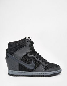 new style ac559 05a07 Nike Dunk Sky Hi Black Wedge Trainers
