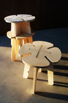 ANON&CO_ Clover stool stack plywood