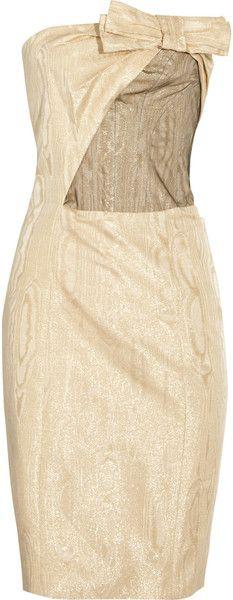 CAROLINA HERRERA Strapless Metallic Dress