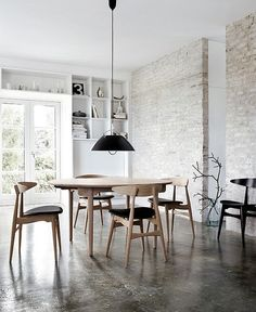 Exposed Brick Walls In 10 Cool Dining Room Design Ideas - Interior Idea White Wash Brick, White Brick Walls, Exposed Brick Walls, Grey Brick, Faux Brick, Stone Walls, Dining Room Design, Dining Area, Dining Chairs