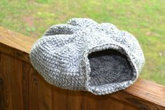 Crochet Cat Cave Gray and White Neutral Pet Bed by LittlestSister, $38.00