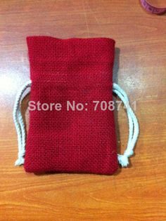 """SIZE:10X15cm(4""""x6""""),Red Color jute burlap drawstring bag with cotton drawstring , Custom logo,size and bag design acceptable $89.00"""