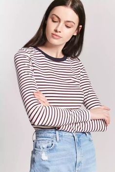 Product Name:Stripe Crew Neck Tee, Category:top_blouses, Price:9.9