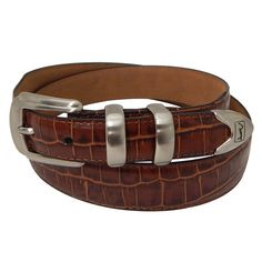 Men's PGA Tour Tapered Faux-Crocodile Leather Golf Belt, Size: 32, Brown