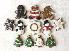 Happy Christmas; gingerbread boys, snowmen, Christmas trees; cookie artist - Angelique Icing Cookies