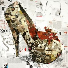 """Collage Artwork: Collage Art by Derek Gores 'Ways to Rule the World'  36"""" x 36"""" on canvas. available. contact derek (at) derekgores.com"""