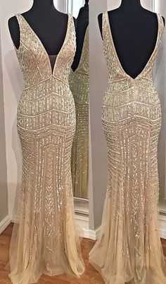 champagne deep v-neck prom dresses, sexy deep v-neck evening gowns with beading, backless prom party dresses