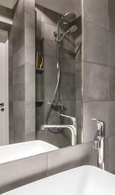 Bathroom made by us! Tiles is from - mate. Servant is Artis from villeroy & boch. Mixer is Citterioe by hansgrohe. Tiler and architect works together. Find more about us at www. Mixer, Zero, Sink, Bathroom, Home Decor, Sink Tops, Washroom, Vessel Sink, Decoration Home