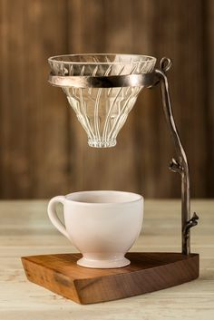 Metal and Wood Coffee Pour Over Hand Forged von RoaringDogStudio