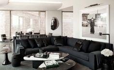 Gorgeous Black and white living room decor with black modena sectional, luxury black living room decor with black sectional, restoration hardware inspired living room decor Interior Design Books, White Interior Design, Interior Decorating, Decorating Ideas, Decor Ideas, Alexander Wang, Living Room Designs, Living Spaces, Living Rooms