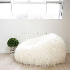 Lush & Soft Super SHAGGY FUR BEAN BAG Cloud Chair Large Plush Luxury Beanbag NEW #IvoryDeene