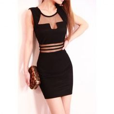 $8.79 Sexy Style Scoop Neck Sleeveless Voile Splicing Openwork Dress For Women