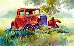 """RUSTING IN THE SHADE by Mary Shepard Watercolor ~ Image size:  7"""" x 10"""" unframed"""