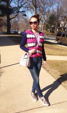Women's Hot Pink Horizontal Striped Cardigan, Pink Crew-neck Sweater, Navy Skinny Jeans, Pink Snake Leather Slip-on Sneakers Pink Snake, Topshop Tops, Matches Fashion, J Brand Jeans, Striped Cardigan, Pink Sweater, Slip On Sneakers, Leather Slip Ons, Looking For Women