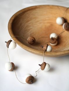 Felted Acorn Garland   ten handfelted acorns on hemp door delica