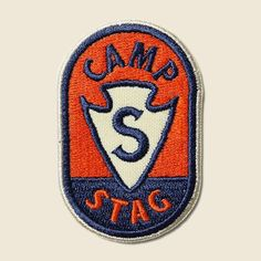 - Limited Edition Camp STAG patch - Designed in Austin, TX by Erick Montes - Dimensions: x Lettering Design, Logo Design, Used Camping Gear, New Flyer, Type Illustration, Vintage Patches, Vintage Graphic Design, Emblem, Patch Design