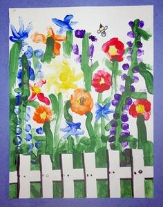 Maybe adapt for lupines to go along with Miss Rumphius. Masking tape was used for the fence.the rest is finger painting techniques. You can also get a special kind of tape at art supply stores that comes off paper really easy. Kindergarten Art Lessons, Art Lessons Elementary, Spring Art Projects, School Art Projects, Art Floral, Art 2nd Grade, Arte Elemental, Classe D'art, Finger Painting