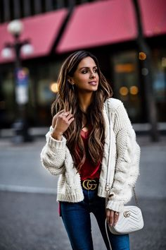 17 NOV, 2017 7 Ways To Make The Most Of The Holiday Season - Outfit Details: Similar Cardigan Free People Velvet Cami AG Denim Christian Louboutin So Kate Heels Gucci Belt AUrate Solid Circle Bracelet AUrate Inverse Ring AUrate Icon Ring AUrate Mini Earcuff