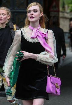 Elle Fanning at the Gucci catwalk show at Westminster Abbey on June 2, 2016