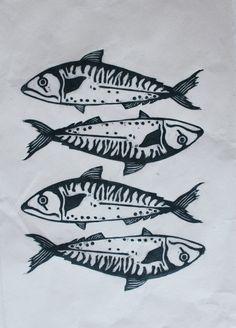 Four Mackerel Lino Print