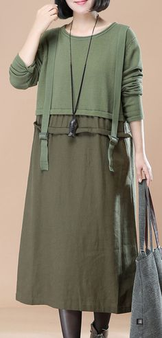f8920c49afe green strap knit dresses plus size clothing spring dresses top quality  patchwork pullover sweater  knit. Omychic Linen Dress