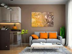 23801 Obraz na płótnie - GEOMETRIA  żółty - 120x80