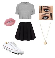 """SkIRT 💋"" by kayla1021 ❤ liked on Polyvore featuring Polo Ralph Lauren, Topshop, Converse, NLY Accessories and Lime Crime"
