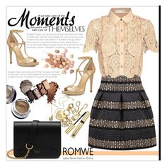 """""""Win this skirt from Romwe !"""" by merima-balukovic ❤ liked on Polyvore featuring self-portrait, MICHAEL Michael Kors, Too Faced Cosmetics, Maybelline and Mulberry"""