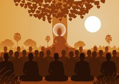 Lord of buddha mediating with crowd of monk , Buddha Artwork, Buddha Painting, Zen, Three Canvas Painting, Budha Art, Golden Buddha Statue, Maitreya Buddha, Background Design Vector, Buddha Meditation