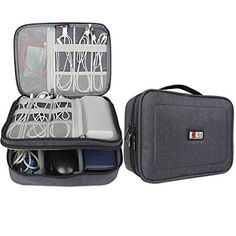 BUBM Gadget Organizer Case Ultracompact Electronics Organiser for Data Cables Chargers Plugs Memory Cards CF Cards and Morea Sleeve Pouch Fits for iPad Large Black ** See this great product.