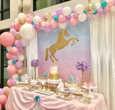 Unicorn Birthday Party Setup for my daughter @popandparties on Instagram.  Follow us! Fiesta de Unicornio #unicornio #UnicornParty #Unicornpartyideas #unicorn #birthdayparty
