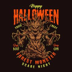 Colorful Forest Monster vector design illustration. From 44 Halloween vector designs.