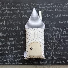 House Pillow, Tooth Fairy Pillow Cottage, Neutral, Gray, White, Boys, Girls, Children, Toy,  Stuffed Toy, Keepsake