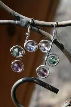 Sterling Silver Earrings, Rainbow Flourite, Wire Wrapped, Kelly's Rainbow. $62.00, via Etsy.