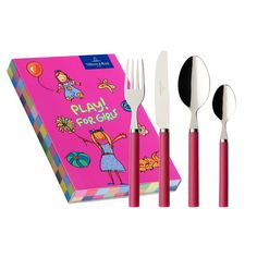 #Pink kid's cutlery set with a book! | Villeroy & Boch