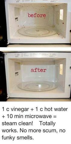 Naturally clean microwave. 1 cup water 1 cup vinegar 10 minutes in the microwave wipes clean. This is no joke! Cleanest it's ever been.