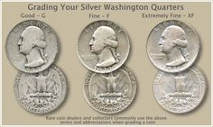 Silver Washington quarters value is tied closely to the price of silver. Silver Washington quarters value is tied closely to the price of silver. However, a few rare dates and mintmarks are very valuable. Us Coins, Silver Coins, Old Coins Value, Valuable Coins, Valuable Pennies, Rare Pennies, Gold And Silver Prices, Old Coins Worth Money, Coin Dealers