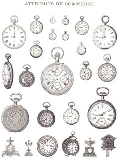 Vintage French Illustrations of Mens Hats Pocket Watches Pipes and Billiards Attributs De Commerce France Advertising Art from early 1900s, via Etsy.. - elgin watches, all gold watch, gold and silver watch mens *sponsored https://www.pinterest.com/watches_watch/ https://www.pinterest.com/explore/watches/ https://www.pinterest.com/watches_watch/gold-watches-for-women/ https://www.rolex.com/