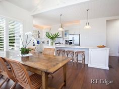 Hamptons Style - Dining room/window seat and kitchen combo. Description from…