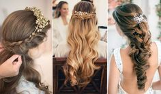 A half up half down wedding hairstyle will be perfect for brides who love a natural look and also want an elegant updo. It is a versatile style from twisting, curls, waves to braids and bangs. With fresh flowers or gl...