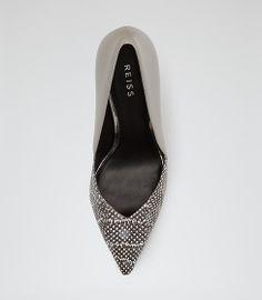 5a70f980daa Arya Grey Textured Two Tone Court Shoes - REISS Arya
