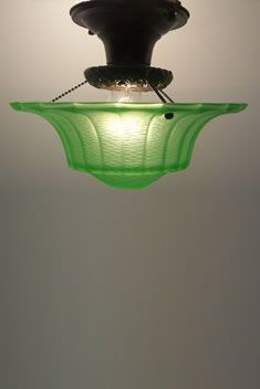 Green Depression Glass Ceiling Light Fixture   Love It!