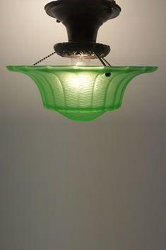 Green Depression glass Ceiling Light Fixture - Love it!!