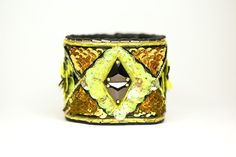 Art Deco Inspired Haute Couture Beaded Leather Cuff by MooshiMode
