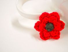 Mens Red Boutonniere, Wedding Flowers, Small Lapel Pin, Crochet Flowers, Boutineers, Mens Accessories