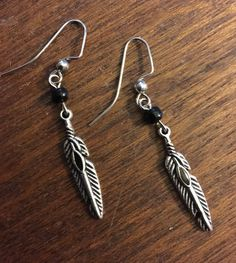 Feather Pendant earrings by APromisedHope on Etsy
